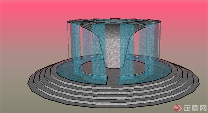 某欧式圆形喷泉水景跌水设计su模型素材
