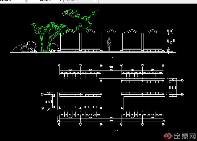 某木质花架长方形花架施工图设计cad图纸图片