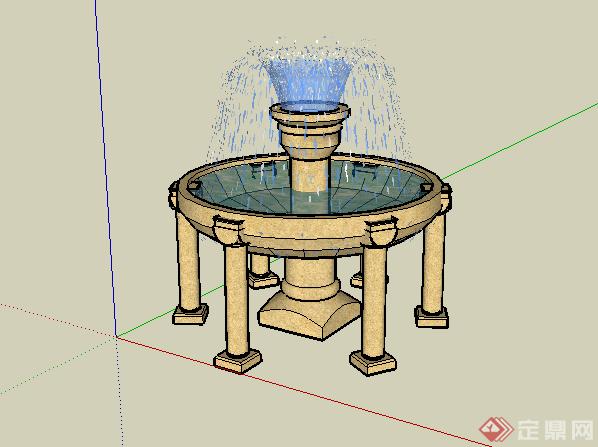 某欧式风格圆形水景喷泉设计su模型素材