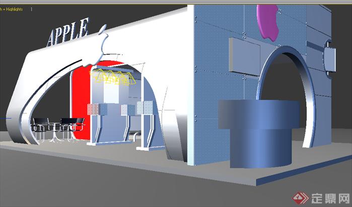 某苹果电脑展台展厅设计3dmax模型素材图片