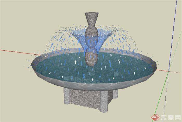 某欧式圆形喷泉喷水池设计su模型素材2