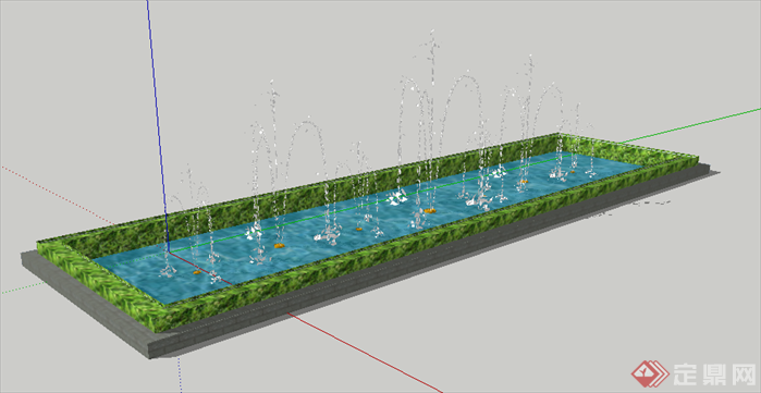 某长方形喷泉水池景观设计su模型素材