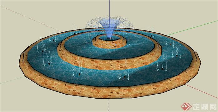 某欧式圆形喷泉水景水池设计su模型素材2