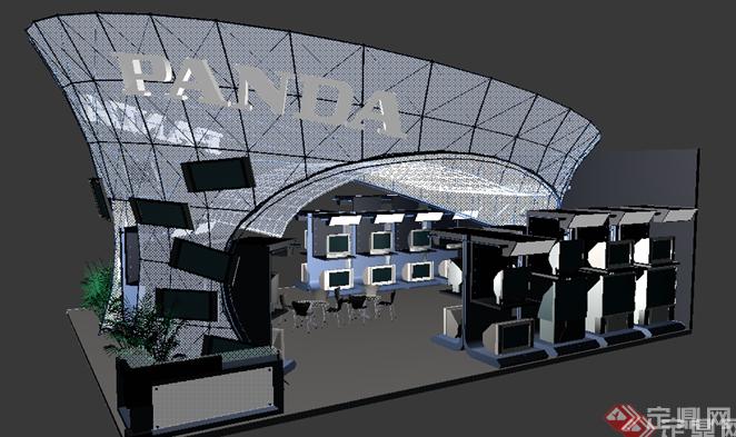 某外国公司展览厅展台设计3dmax模型素材