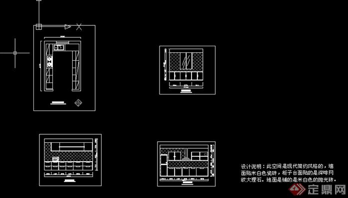 某现代厨房橱柜设计方案(dwg格式)[原创]