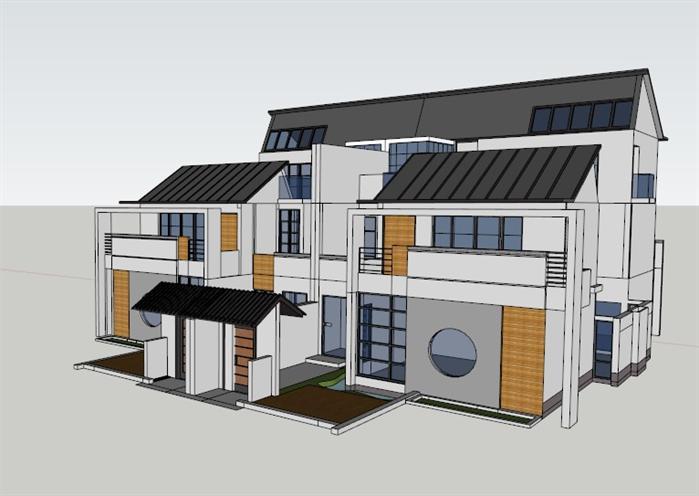某中式联排别墅建筑设计方案su模型(含cad方案)(2)
