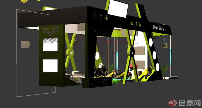 某电瓶车展厅设计方案3dmax模型