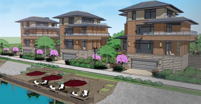 某现代中式别墅建筑设计方案su模型1[原创]