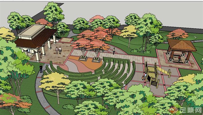 某现代小游园景观设计方案su模型