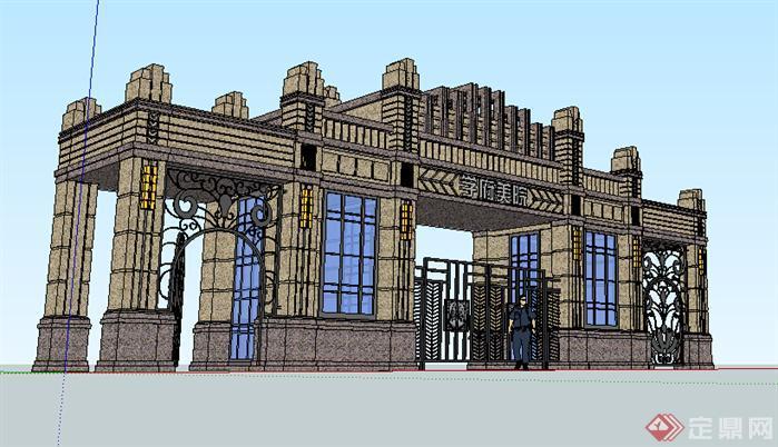 某欧式大门入口设计方案su模型[原创]