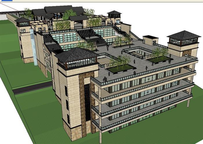 某东南亚风格山坡度假酒店建筑设计方案su模型,该模型设计