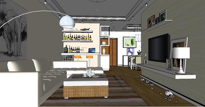 某现代简约风格室内装饰客厅设计方案su模型(2)