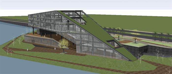 某滨河现代文化展览中心建筑设计su模型[原创]