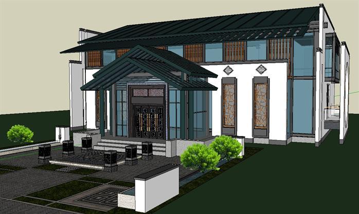 某新中式私人高档会所建筑设计方案su模型(1)图片