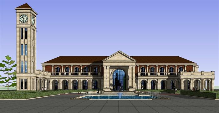 新古典会所建筑设计方案su模型1[原创]