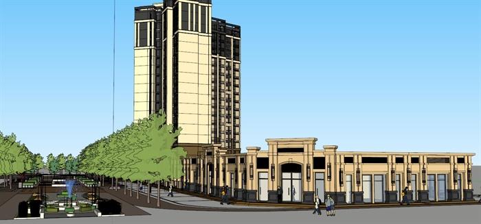 某欧式高层住宅及临街商业建筑设计方案su模型 1