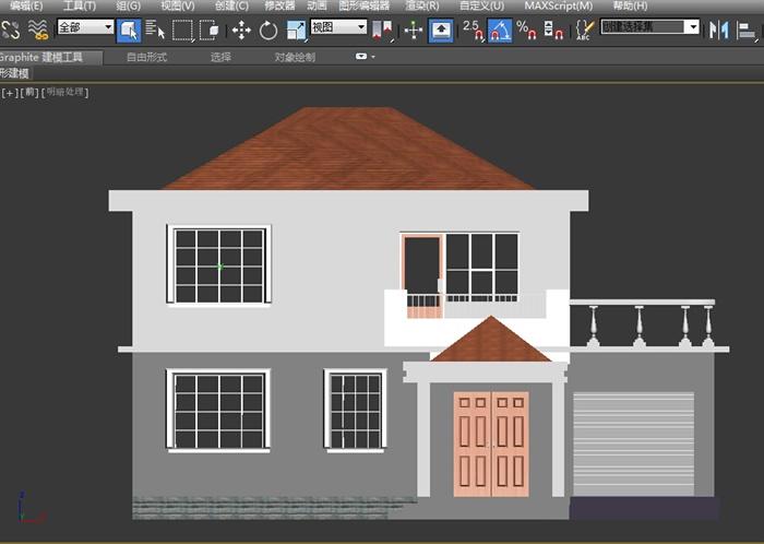 某二层独栋别墅建筑设计MAX模型 含效果图