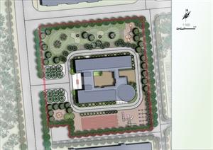某幼儿园规划设计总平面彩平图