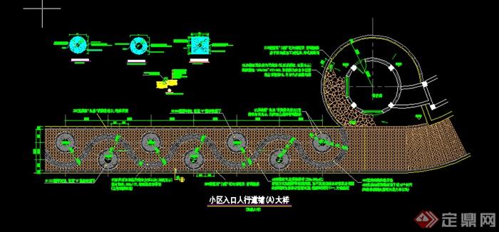 某景观人行道铺装铺地设计施工图CAD图纸