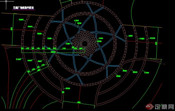 某园林圆形广场铺装铺地设计施工图cad