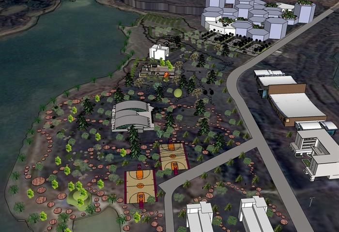 某校园景观规划设计su模型素材含效果图[原创]