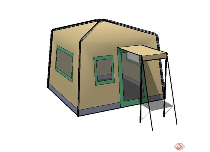 某园林景观室外帐篷su模型素材(1)