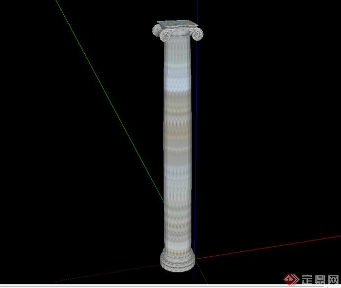 某现代中式风格景观柱设计su模型素材(1)