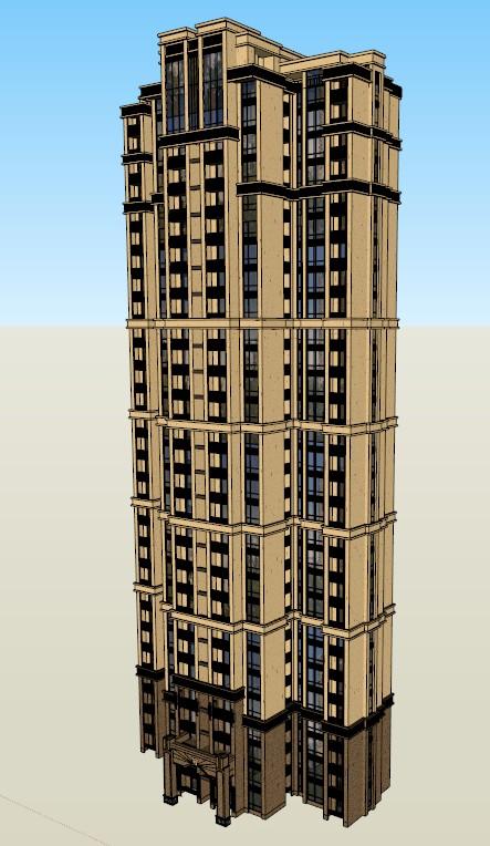某欧式高层住宅楼建筑设计su模型素材[原创]