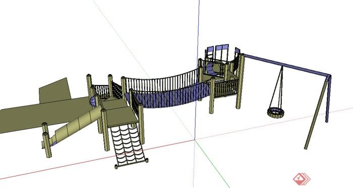 某儿童游乐组合游乐设施su模型素材