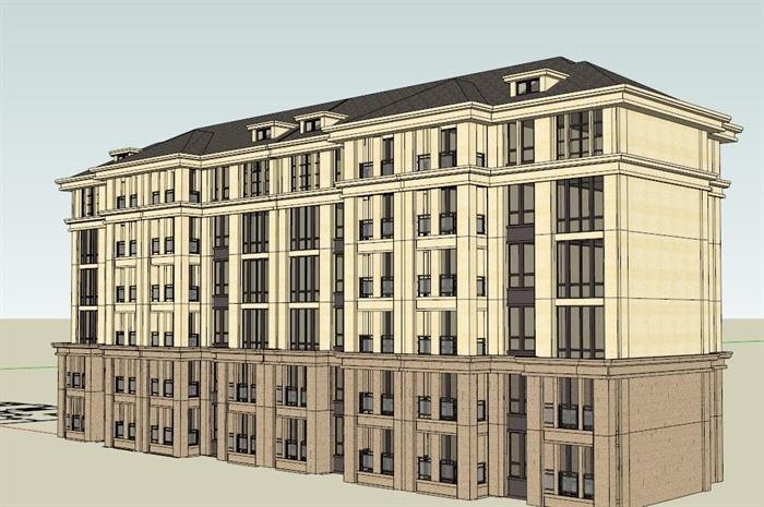 某欧式多层住宅楼建筑设计su模型素材[原创]