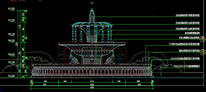 某欧式风格喷泉水景施工图设计cad图纸[原创]