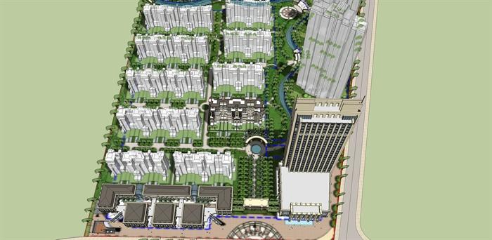 某居住小区入口水景水池设计su模型素材