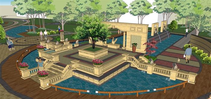 某欧式广场景观中心景区景观设计su模型素材[原创]