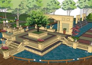某欧式广场景观中心景区景观设计su(草图大师)模型素图片