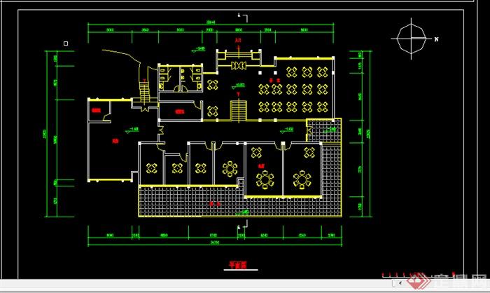 某酒楼茶室建筑施工图设计cad图纸