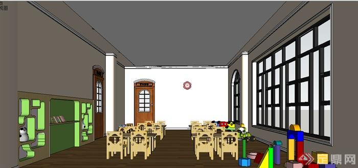 空间文化教育幼儿园教室室内设计su模型素材[原创]