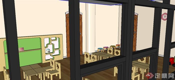 某室内空间文化教育幼儿园教室室内设计SU模型素材(2)