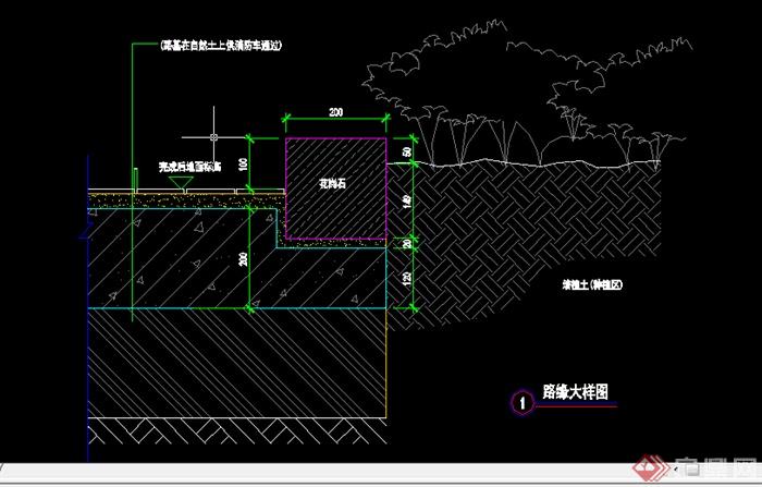 某园林景观道路路缘侧石施工图设计CAD图纸2