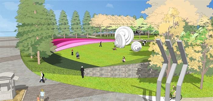 某大型园林景观公园设计su模型素材[原创]