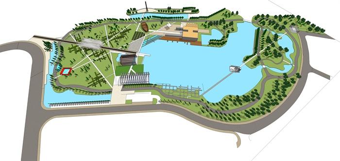 某现代中式滨水公园景观设计方案su模型1(3)