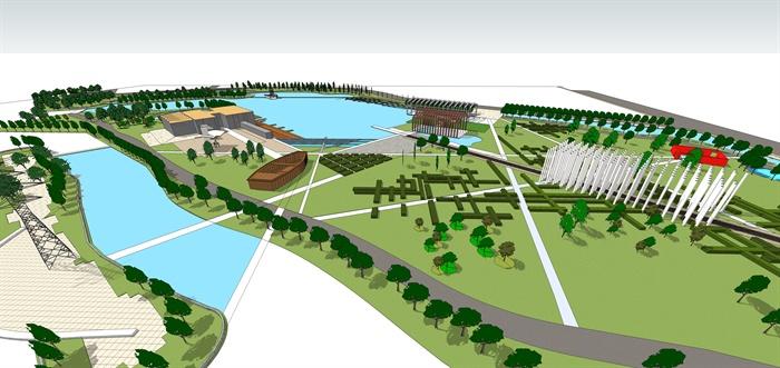 某现代中式滨水公园景观设计方案su模型1[原创]