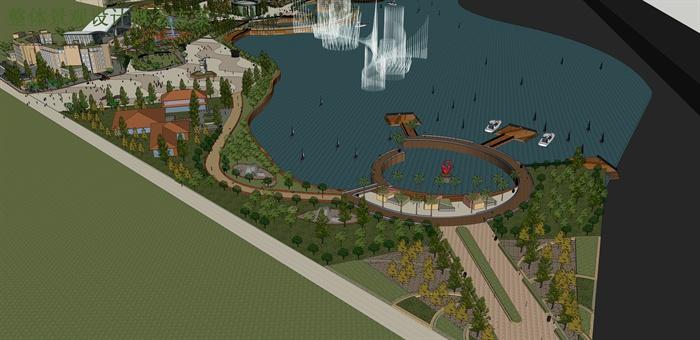 某大型滨水景观规划设计su模型素材[原创]