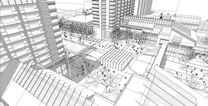 某大型商业广场环境景观设计su模型素材[原创]