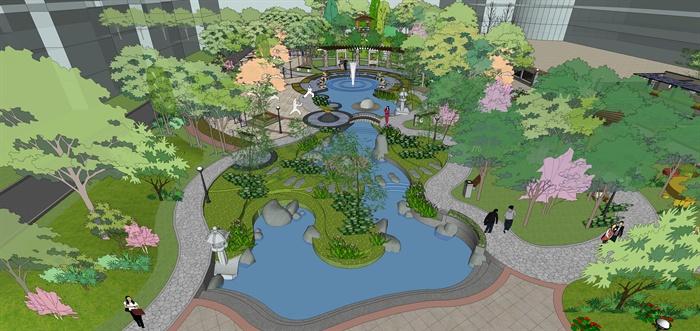 某居住区中央绿地景观规划设计su整体模型[原创]图片