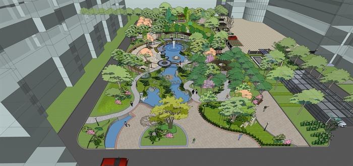 某居住区中央绿地景观规划设计su整体模型[原创]