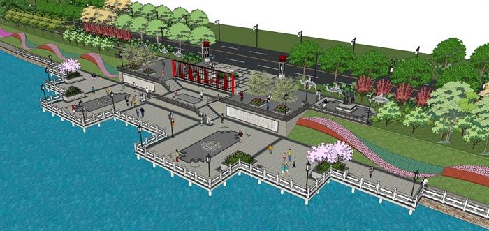 某现代中式滨水公园景观设计方案su模型[原创]
