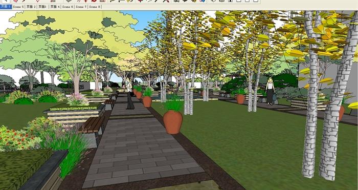 某住宅小区中轴景观设计su模型
