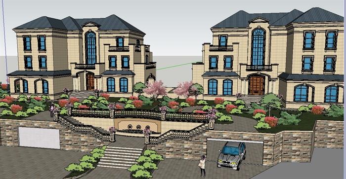 某并排法式别墅建筑设计su模型(附带入口景观设计)
