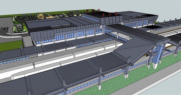 某高鐵站建筑與站前廣場景觀設計su模型[原創]