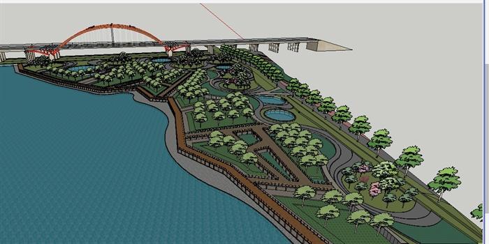 某湿地公园景观设计su模型